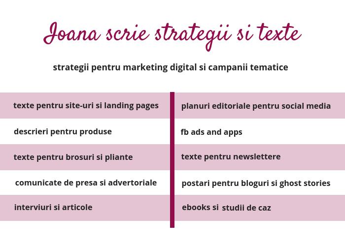 Ioana scrie content marketing senior copywriter